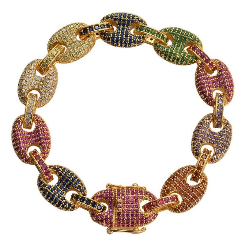 Zlxgirl bijoux de mariée coloré AAA cubique zircon cuivre bracelet élégant romantique pavé réglage de cadeau unisexe