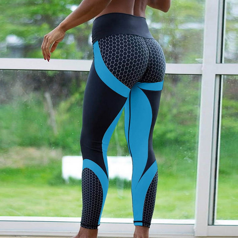 8colors Hot Honeycomb Printed Yoga Pants Women Push Up Sport Leggings Professional Running Leggins Sport Fitness Tights Trousers 2