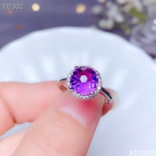 KJJEAXCMY fine jewelry 925 sterling silver inlaid Amethyst gemstone new Female adjustable ring lovely hot selling