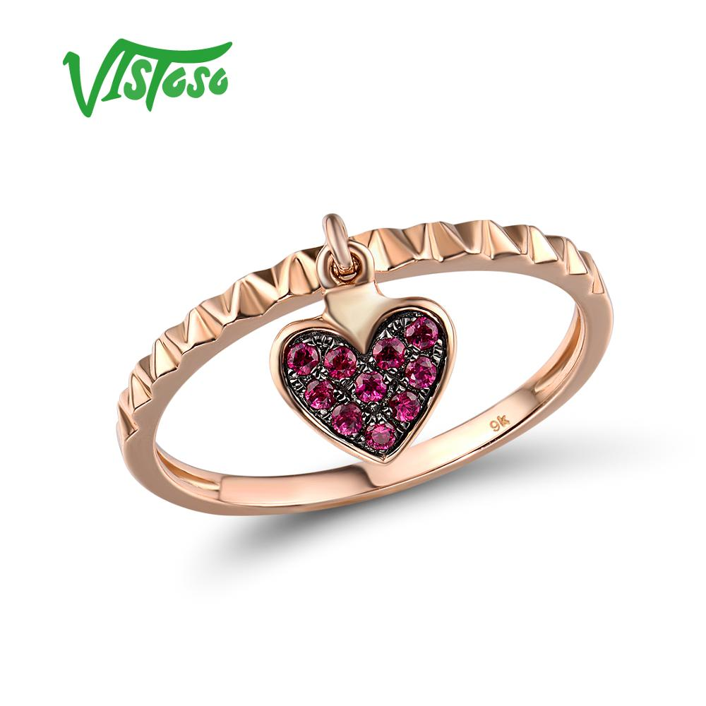 VISTOSO Genuine 9K 375 Rose Gold Created Ruby Heart Shape Ring For Lady Engagement Anniversary Lovely Chic Fine Jewelry