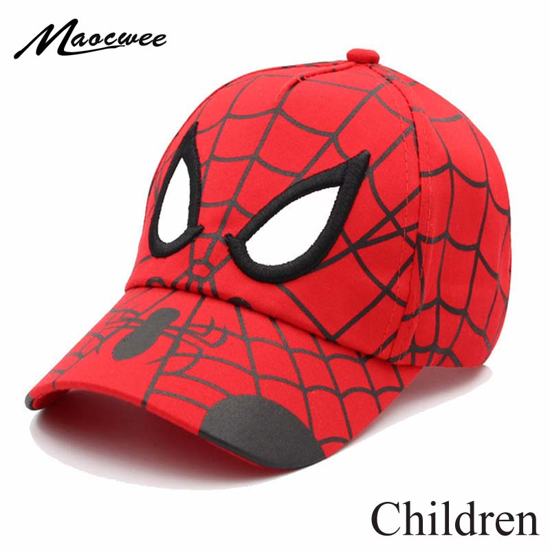 Anime Spider Man Kids Cap Cartoon Baby Embroidery Cotton Children's Baseball Caps For Boy Girl Hip Hop Hat Snapback Summer Cap