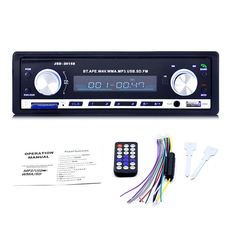 TOSPRA JSD-20158 авто стерео 1 Din автомагнитола 12 в bluetooth V2.0 FM Aux вход приемник автомобильный аудио SD USB MP3 MMC WMA