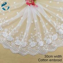 30cm largeur blanc dentelle coton broderie dentelle français dentelle ruban tissu guipure bricolage garnitures chaîne tricot couture accessoires #4177