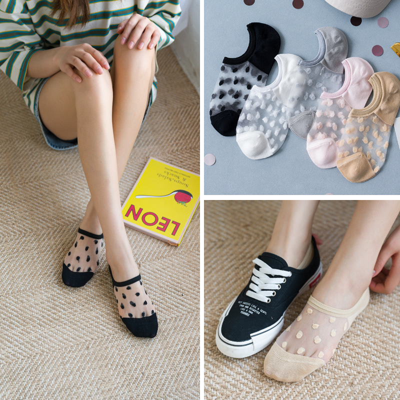 1 Pair Women Socks Summer New Dot Colorful  No Show Socks Soft Silk Thin Transparent Ankle Socks Solid Cute Socks