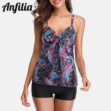 Anfilia Tankini Set Women Swimwear Vintage Floral Print Swimsuit Padded Swimwear Bathing Suit Beach Wear Bikini hollow print tankini set swimwear