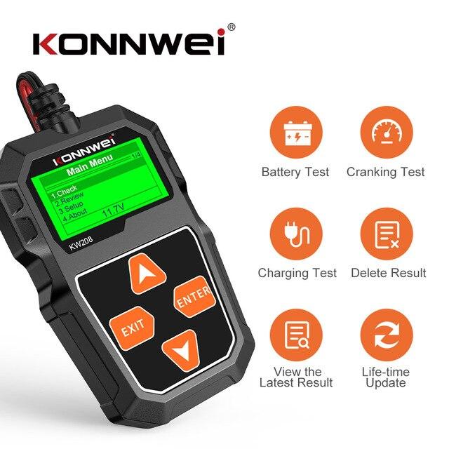 Konnwei kw208 testador de bateria carro 12v 100 a 2000cca bateria ferramentas para carro rápido cranking carregamento diagnóstico carregador analisador