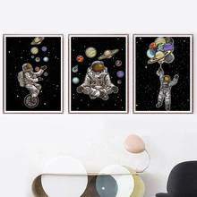 Space Man Planet Astronaut Star Abstract Wall Art Canvas Painting Nordic Posters And Prints Pictures For Living Room Decor
