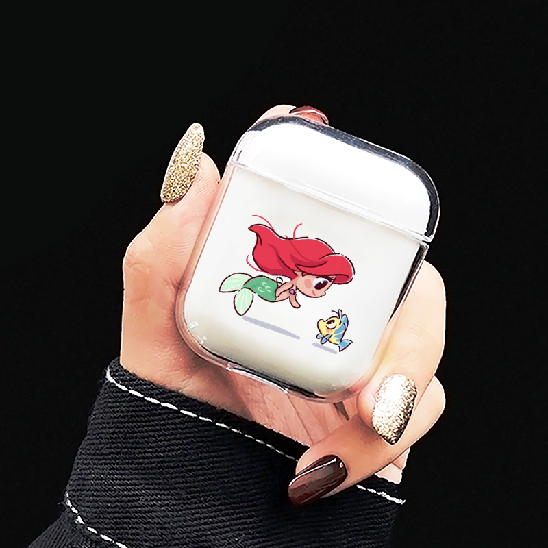 Cute Mini Princesses Mermaid Belle Snowwhite Soft TPU Earphone Case For Airpods 1/2 Wireless Bluetooth Earphone Air Pod Covers