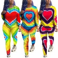 2019 Autumn Gradient Color Tie Dye Printed Two Piece Set Long Sleeve Pullover Long Pants Sweat Suit Sexy Casual Outfits Clothing gradient color printed long dress