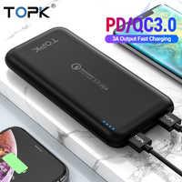 TOPK 10000mAh batterie externe 18W USB type C Batteries externes QC3.0 PD chargeur rapide bidirectionnel Powerbank pour Samsung Xiaomi Huawei