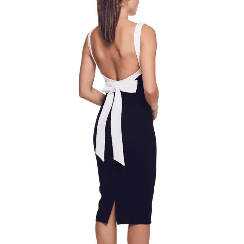 New Fashion Women Party Elegant Vestidos Sexy - White Strap, Backless Lace Up Bow, Black Knee-Length Bandage Dress