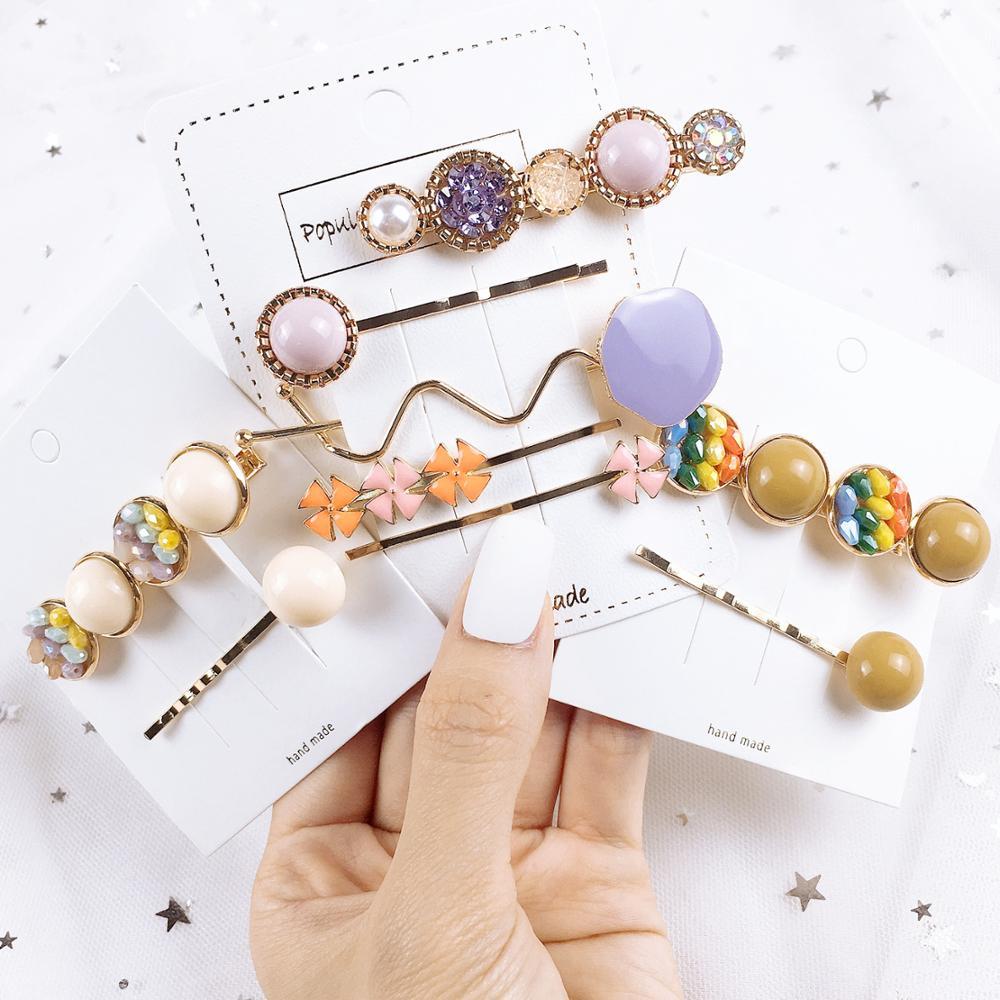1Set Gemstone Crystal Hair Clip Korea Handmade Luxury 2019 Hair Accessories For Women Hairpins Girls Accessories Headband