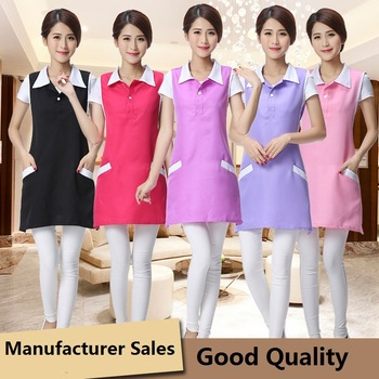 2019 Beauty salon beautician work clothes apron Korean version fashion nail waitress sleeveless skirt female supermarket apron фото