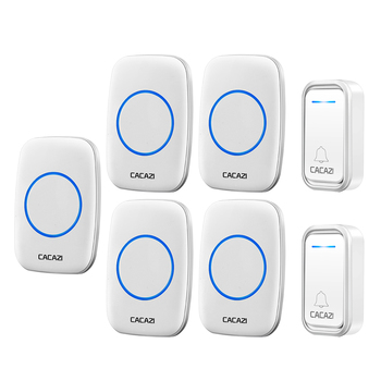 CACAZI Intelligent Wireless Doorbell Waterproof 300M Remote LED Battery Button US EU UK Plug Smart Calling Doorbell 38 Chime