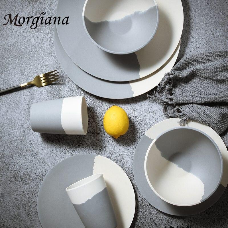 Morgiana assiette de vaisselle en bambou | Antibactérienne Dessert de fruits, plats de table, restaurants ensembles de petit déjeuner ustensiles assiettes de vaisselle