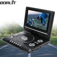 BORUiT Portable Car DVD Player 7.8 Inch Swivel TV CD Digital Multimedia Player USB SD Cards RCA TV Cable Game Car Charger