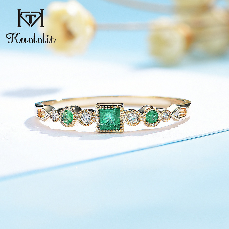 Kuololit Natural Emerald 585 10K 14K Solid yellow Gold Ring for Women Luxury Moissanite Ring for Vintage Engagement Promise Gift(China)