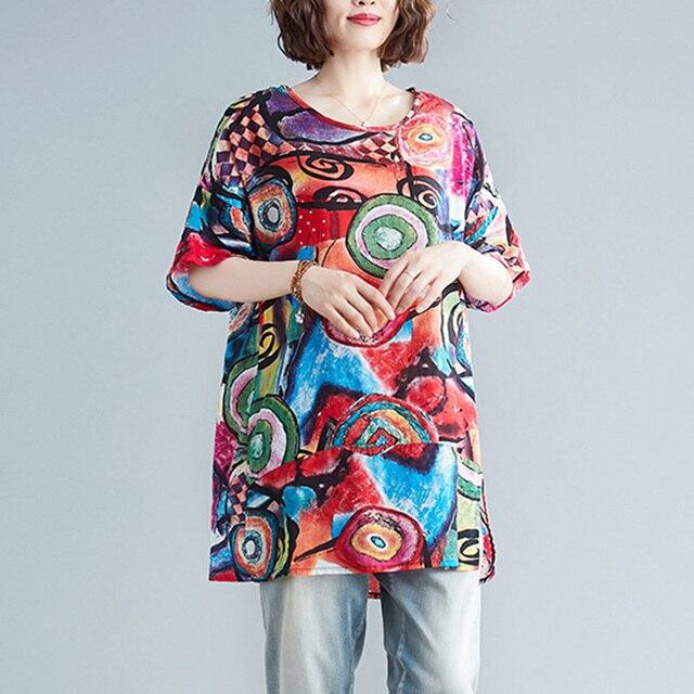 Supermiss Women Summer T Shirt  Loose Printed Short Sleeve Tunic Tops Plus Size New 2020 Tee Shirts