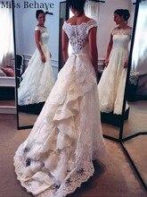 DD JYOY Lace Wedding Dress Princess Dress with Train Wedding Gown 2019 Belt Button Back Plus Size Custom Made