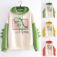 Splice Cartoon Dinosaurus Afdrukken Hoodies Sweatshirts Harajuku Hoodie Sweatshirt Hooded Trui Tops Blouse Mode Kleding(China)