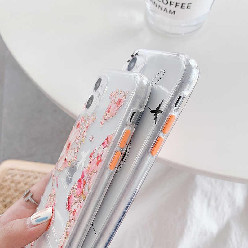 花世界地図ソフトシリコーン電話ケースiphone xs max x 11Pro最大xr 7 8 プラスse旅行市飛行ルートクリア裏表紙