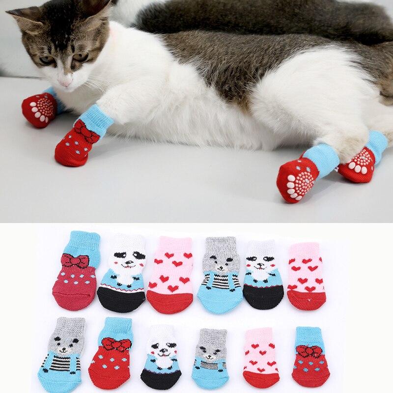 4Pcs Lovely Pet Socks Antiskid Cat Socks Dog Socks Pet Knits Socks Anti Slip Skid Bottom Indoor Wear Multicolor S M L