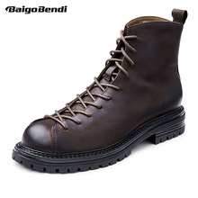 Shoes Short-Boots Soldiers Comfort Genuine-Leather Cool Retro Ankle Autumn Trendy Boy