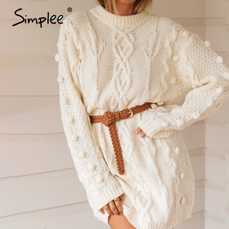 Simplee Casual O-neck women sweater dress Autumn winter long sleeve white female knitted dress Soft straight warm sweater dress