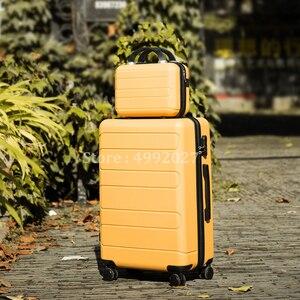 Комплект из 2 предметов, набор багажных чемоданов на косметичка 20/24/28 дюймов для девушек-студенток от тележка Чехол Путешествия spinner дорожны...