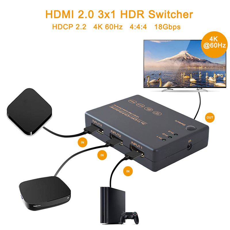 HDMI Switcher 4k 60hz Hdmi Splitter For TV Computer HDMI Switcher With 3 Input Ports And 1 Output Port Portable 4k HDR Switcher