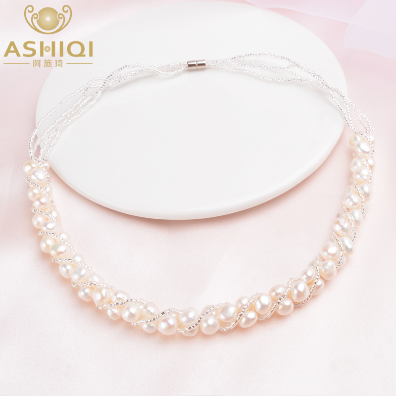 ASHIQI Natural Freshwater Pearl Necklace For Women Fine Handmade Jewelry Wedding Gifts