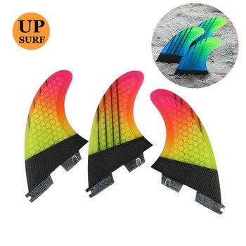 Upsurf Logo FCS2 Fins G5/G7 Surfboard Fin Honeycomb Fibreglass Green Black FCS Quilhas