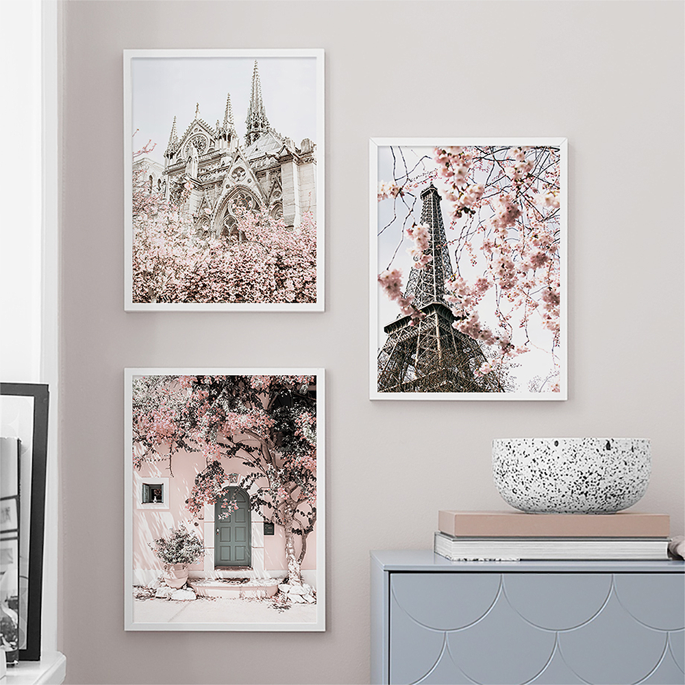 Nordic Paris London Tower Art Wall Canvas Painting Pink Flower Quote Posters Prints Window Door Pictures For Living Room Decor