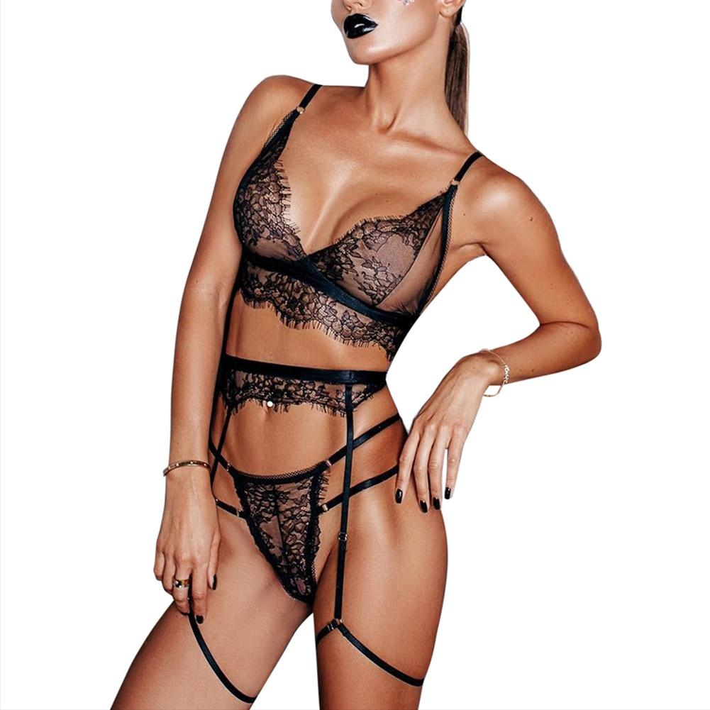 3Pcs/Set Women Sexy Transparent Lace Bra Set + Garter Black Sexy Erotic Lingerie Hot Lace Mesh Hollow Out Underwear Babydolls