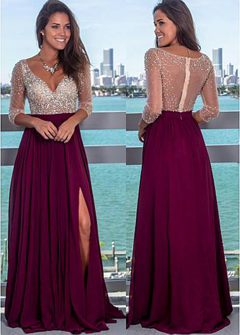 Sexy Backless Evening Dress Long 2002 V Neck Beading Crystal With Slit Chiffon Women Formal Party Gown Prom Dress Robe De Soiree