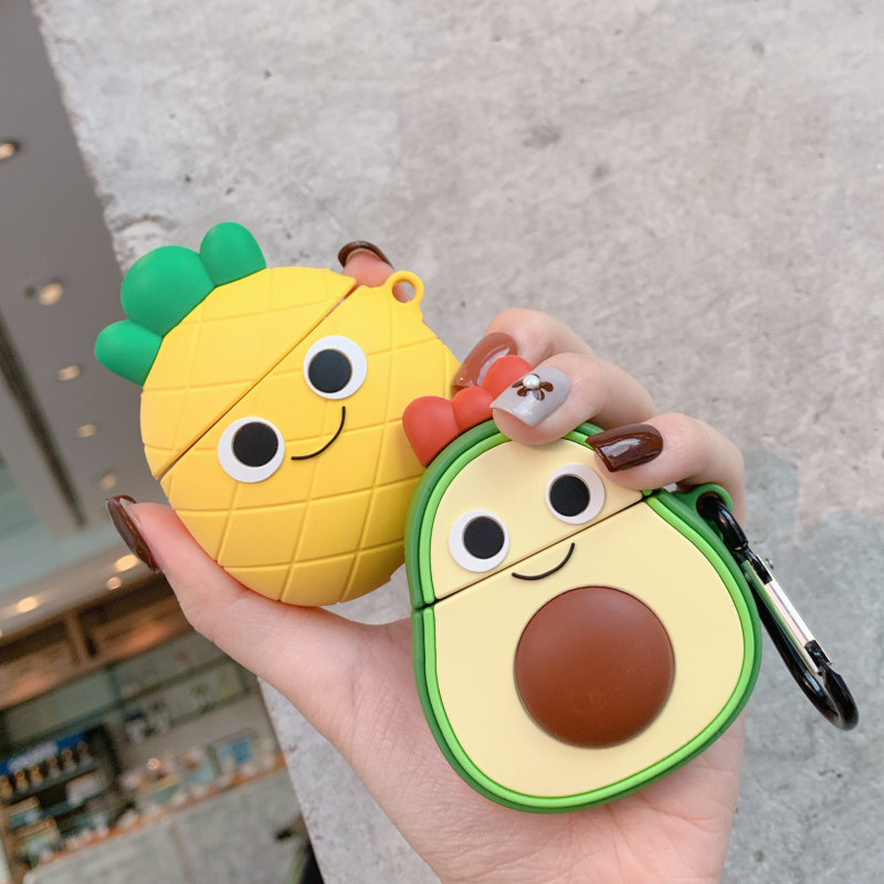 Fruit Avocado And Pineapple Headphone Jacket For Airpods 1 2 Case For Apple Wireless Bluetooth Headset Protector Soft Shell