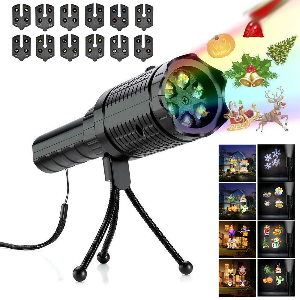 12 Pattern Christmas Snowflake Laser Landscape Projector Lamp Halloween Waterproof Outdoor Garden Lamp Flashlight For Xmas Party