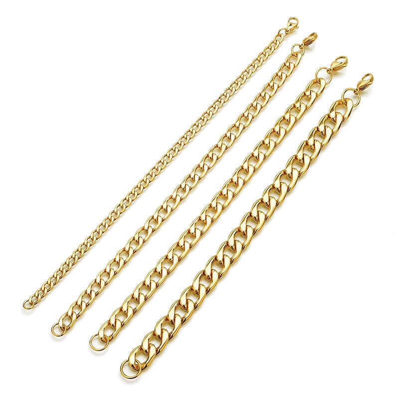 卸売ジュエリー-22 センチメートルチタン鋼ゴールドカラーチェーンフィガロ 1:1 ブレスレットジュエリー No フェード異なるサイズ
