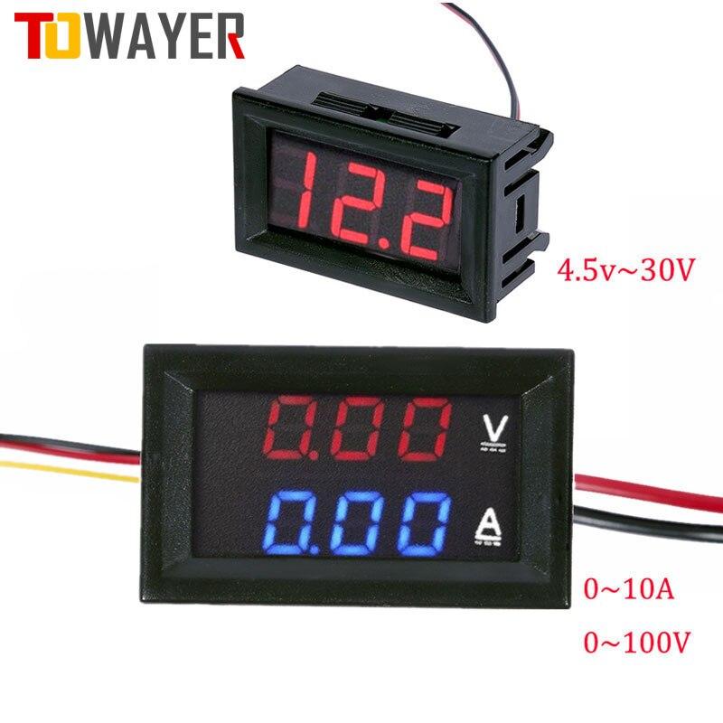 Вольтметр Амперметр постоянного тока 100 в 10 А синий красный двойной светодиодный дисплей Ампер Двойной цифровой вольтметр датчик, 4,5 в до 30 в...