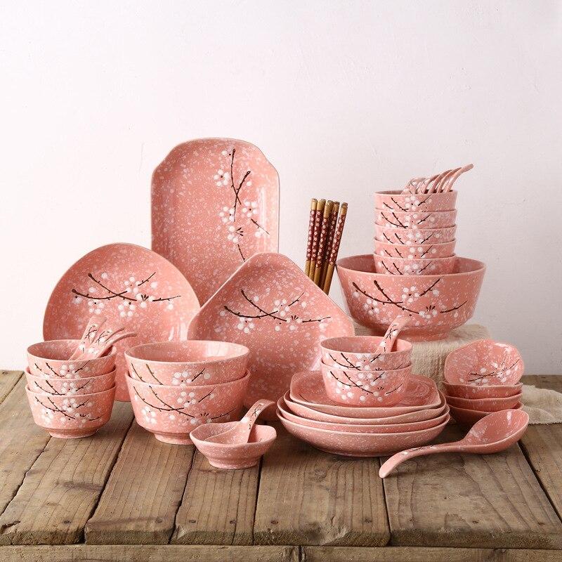 Estilo japonês Jogo de jantar Tigela/prato/prato/chopsticks/colher 46 Talheres pcs Set Reutilizável cerâmica com Pauzinhos de madeira - 3