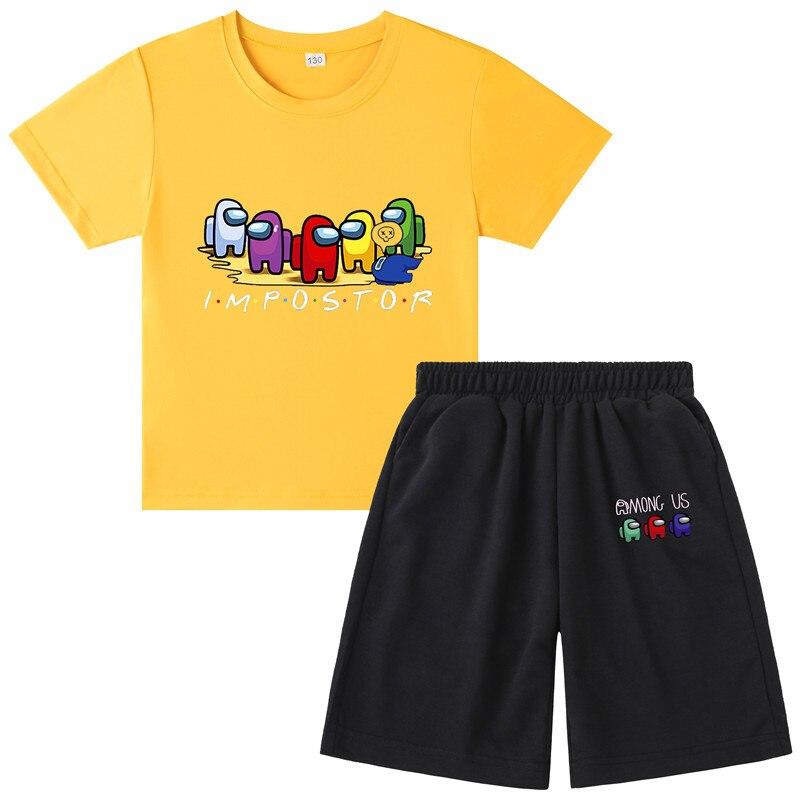 New Kids Boys Girls Among us Game Pattern T Shirt Short Pants Set Cotton Pajamas