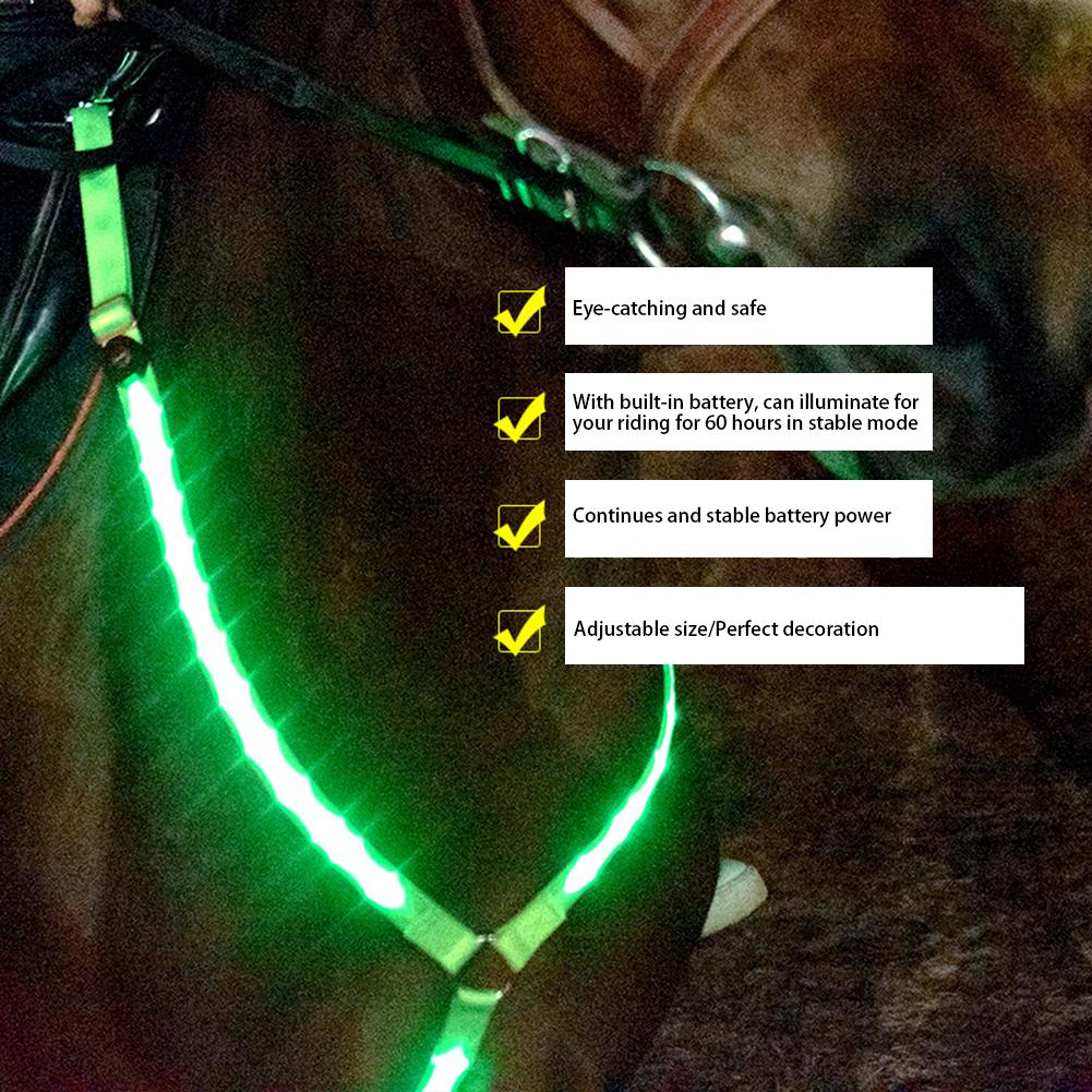 LED Horse Harness Breastplate Nylon Webbing Night Visible Horse Riding Equipment Paardensport Racing Supply Cheval Horse Collar