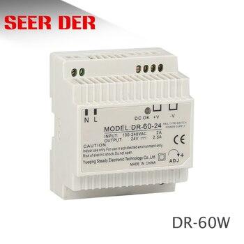 DR-60-12 трансформатор 12 вольт 5 ампер промышленный din-рейку источник питания 220 В ac до 12 В dc источник питания