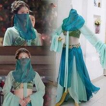 Grupo minoritário azul exótico dança traje para tv jogar san qian ya sha atriz zhao lusi design palco desempenho hanfu cosplay