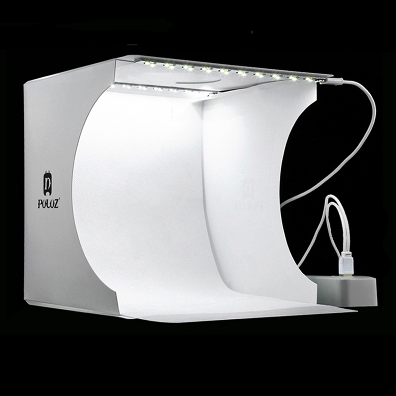 Mini Folding Lightbox Photography Photo Studio Softbox 2 Panel LED Light Soft Box Photo Background Kit Light box for DSLR Camera image