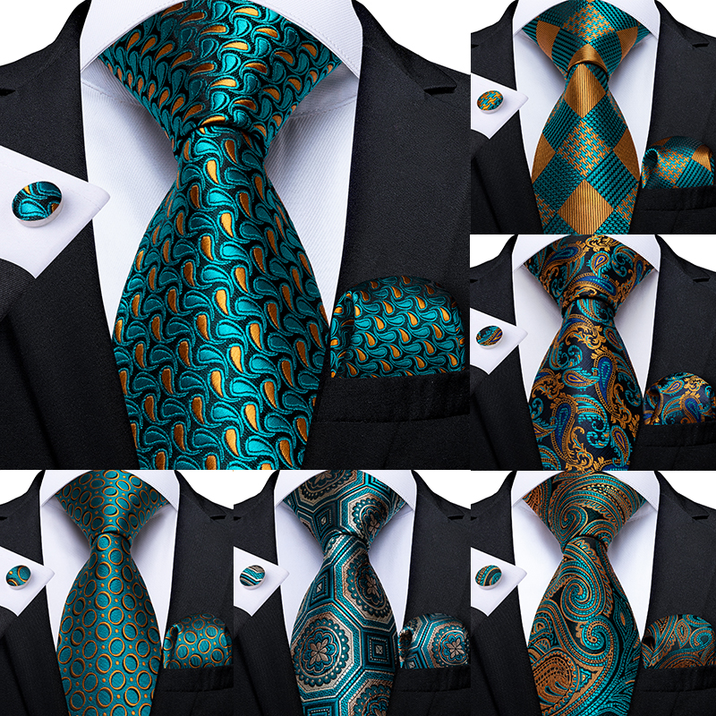 Men Tie Teal Blue Green Paisley Novelty Design Silk Wedding Tie For Men Handky Cufflink Gift Tie Set DiBanGu Party Business