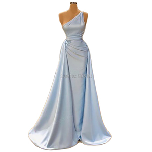 5201 One-shoulder natural mermaid/trumpet floor-length satin long evening dresses/party gowns pleat&back-zipper free shipping