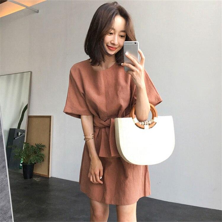 Женское льняное платье с высокой талией Colorfaith, повседневное модное льняное платье выше колена на шнуровке в Корейском стиле, весна-лето 2020, ...