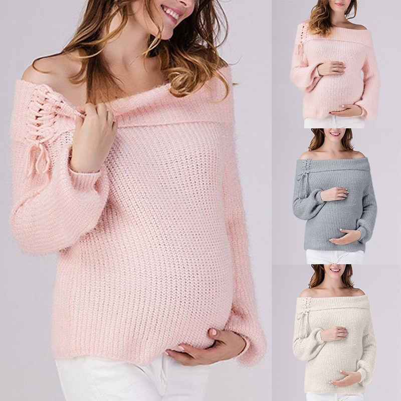 Fashion Pregnant New Autumn And Winter Word Shoulder Strap Comfort Maternity Clothes Solid Color Soft Sweater Maternity Dress
