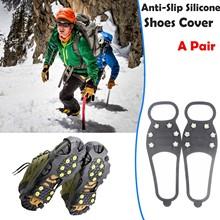 6 zęby Ice Gripper na buty kobiety mężczyźni raki Ice Gripper Spike Grips knagi na śnieg szpilki antypoślizgowe wspinaczka piesze wycieczki okładki tanie tanio Buty Kolce CN (pochodzenie) Spring2019 1 pair Black Silicone Climbing Non-Slip Shoe Grip ice snow grips Rubber+Mental